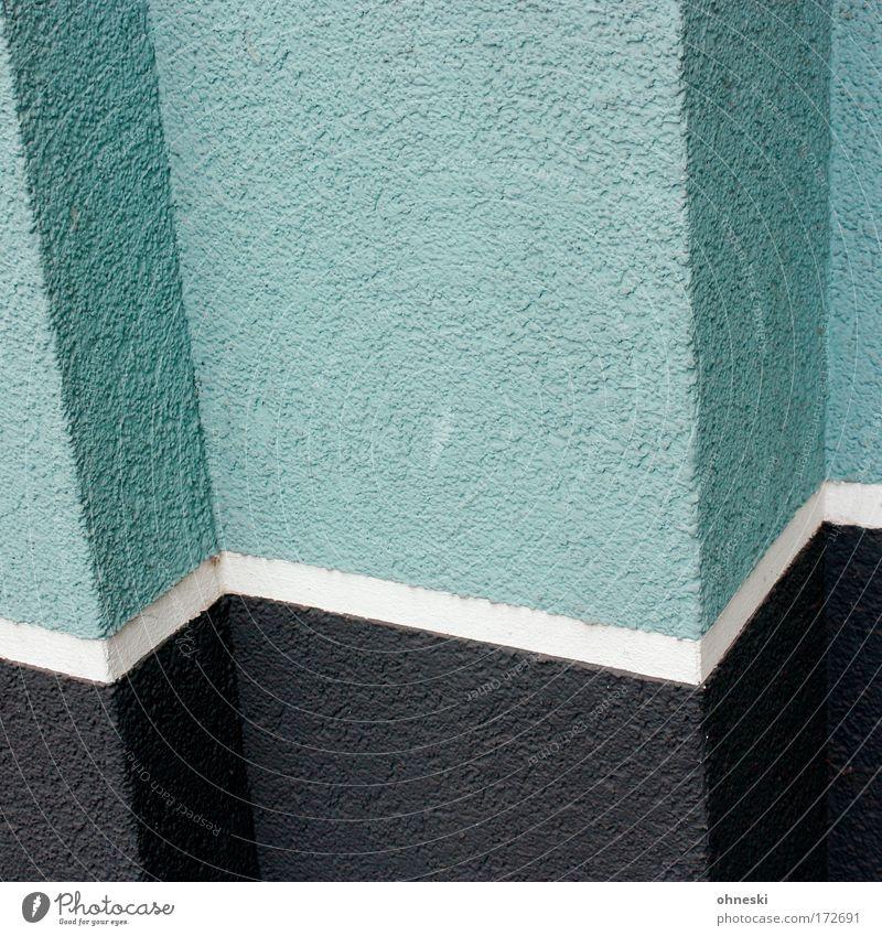 Zickzackkurs [Usertreffen Bo] Haus schwarz Wand Mauer Gebäude Architektur Fassade Bauwerk Eingang Maler Linie mint gestrichen