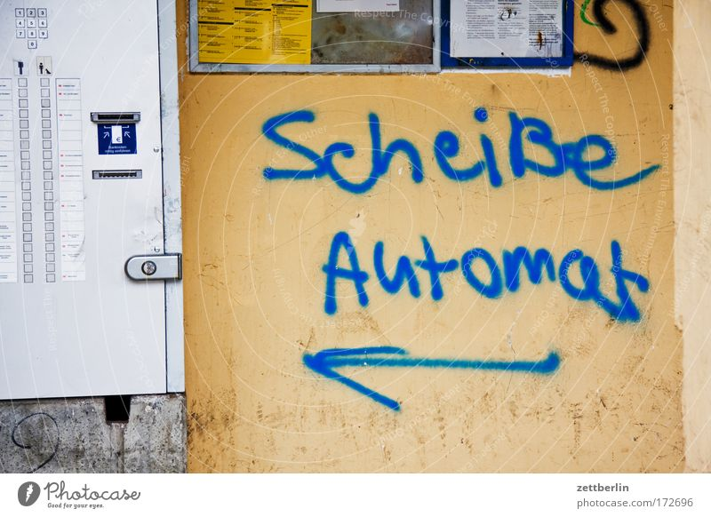 Scheiße Automat Graffiti Schriftzeichen Kot Typographie Fahrkarte Vandalismus Tagger Aufschrift beschmutzen Kritik Automatisierung beschriften Fahrkartenautomat