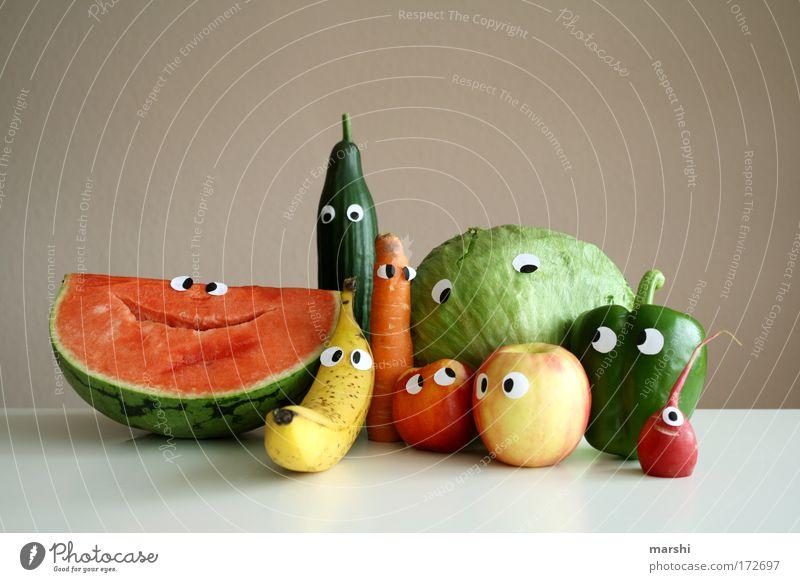 Familienporträt Freude Gesicht Auge Gefühle lustig Gesundheit Lebensmittel Familie & Verwandtschaft Frucht mehrere Lächeln frisch Porträt Ernährung Kochen & Garen & Backen Gemüse