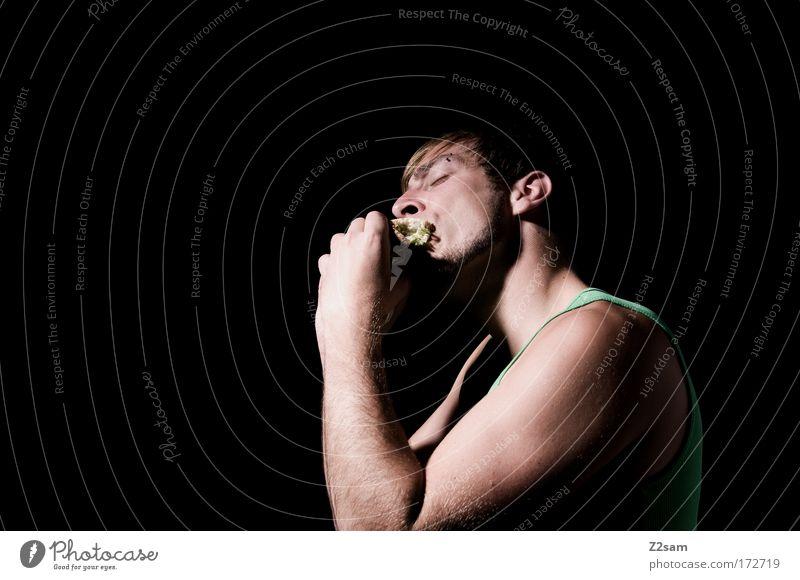 mhmm!!!!!!!!!!!!!!!!!!! Farbfoto Studioaufnahme Blitzlichtaufnahme Oberkörper Wegsehen Lebensmittel Brötchen Belegtes Brot Fastfood Stil Mensch maskulin