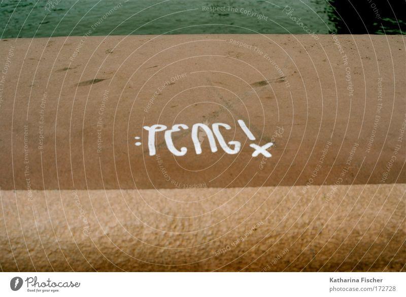 PENG ! Wasser weiß Stein Mauer Graffiti braun Brücke Schriftzeichen