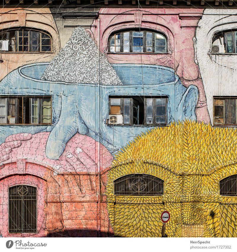 Fensteraugen Kunst Kunstwerk Stadt Mauer Wand Fassade Tür Graffiti außergewöhnlich bedrohlich fantastisch gruselig wild Straßenkunst Kopf Auge Fensterscheibe