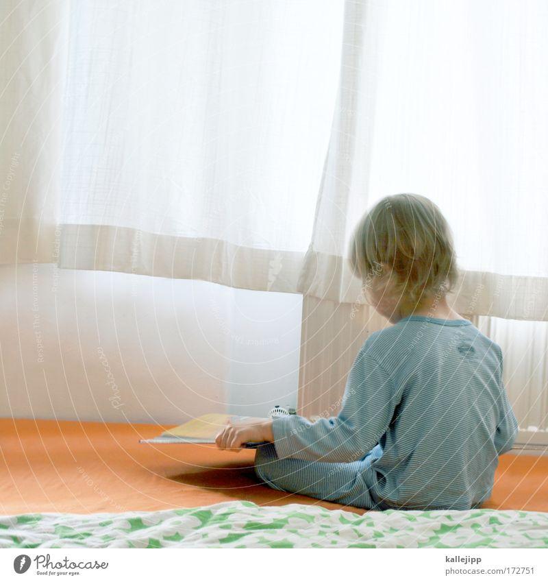 fernstudium Mensch Kind Hand Junge Haare & Frisuren klein Erde Kindheit Raum blond Rücken Wohnung sitzen Innenarchitektur Buch lernen
