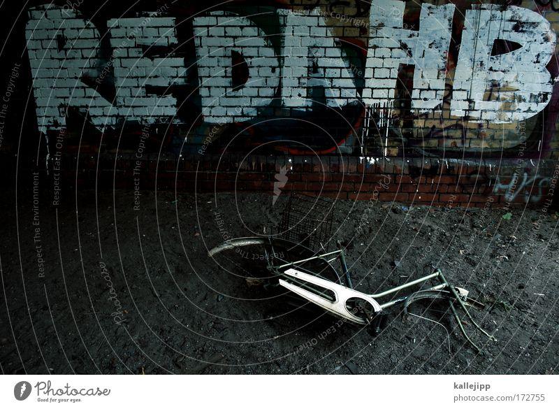 rehab dunkel Wand Traurigkeit Graffiti Mauer Stein Metall Angst Verkehr dreckig Fahrrad Schriftzeichen Vergänglichkeit Brücke Coolness Sehnsucht