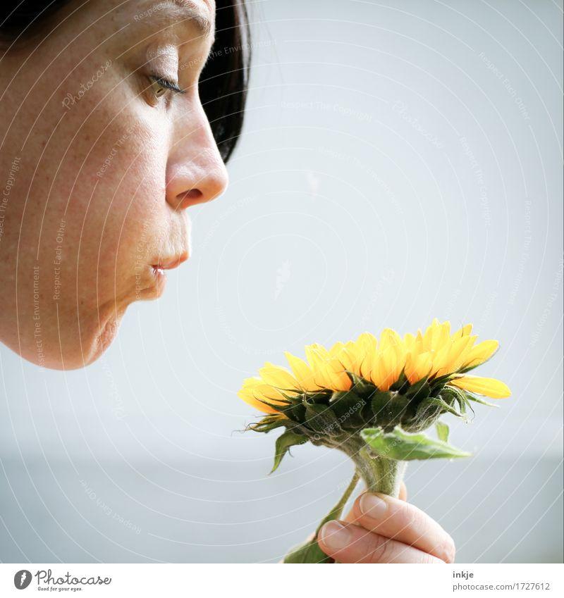Pusteblume aus Tlön Mensch Frau Sommer Blume Freude Gesicht Erwachsene Leben Blüte Gefühle lustig Lifestyle außergewöhnlich hell Freizeit & Hobby verrückt