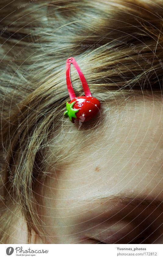 Strawberry Girl Frucht Erdbeeren Stil schön Haare & Frisuren Haarsträhne Haarschmuck Haarspange Mensch feminin Kind Mädchen Frau Erwachsene Kindheit Sommer