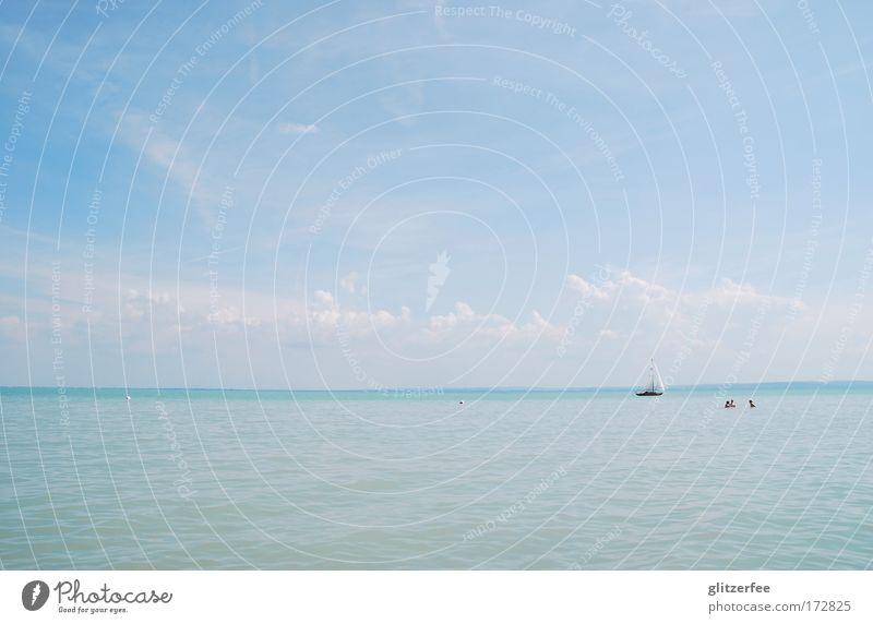 tick, trick und track stechen in see Himmel Wasser Ferien & Urlaub & Reisen Sonne Sommer Meer Freude Strand Wolken Ferne Landschaft Freiheit Wärme See Zufriedenheit Wellen