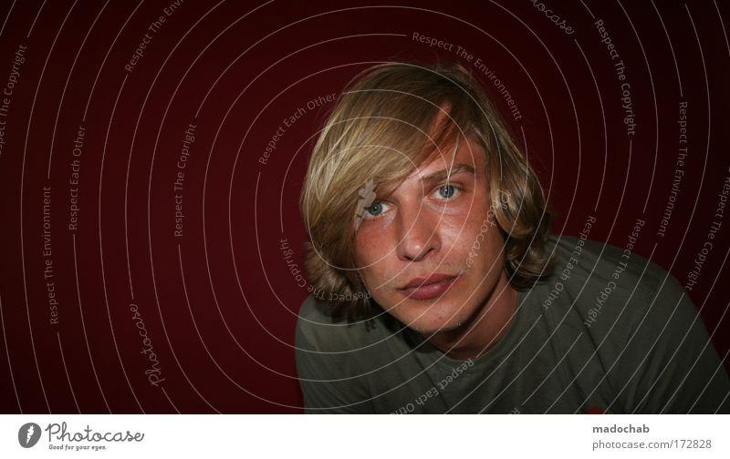 Portrait junger Mann Blickkontakt Textfreiraum links Porträt Blick in die Kamera Stil Mensch maskulin Erwachsene Jugendliche Kopf Haare & Frisuren 1 18-30 Jahre