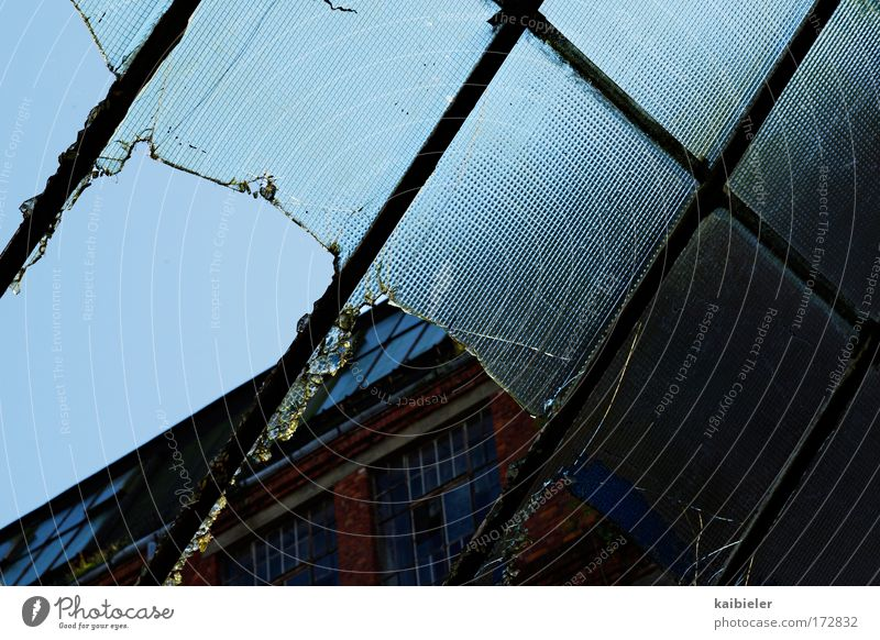 Durchblick alt blau rot Fenster Fassade kaputt Dach Vergänglichkeit Fabrik Vergangenheit Verfall Leerstand Ruine Oberlicht Glasdach