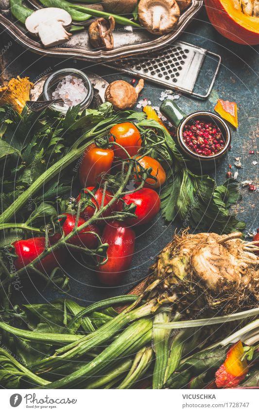Vegetarisch Kochen mit Bio Gemüse Lebensmittel Kräuter & Gewürze Ernährung Bioprodukte Vegetarische Ernährung Diät Geschirr Stil Design Gesundheit