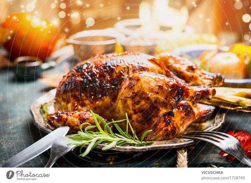 Erntedankfest Tisch mit geröstetem Hähnchen Weihnachten & Advent Foodfotografie gelb Stil Lebensmittel Feste & Feiern Party Design Häusliches Leben Ernährung