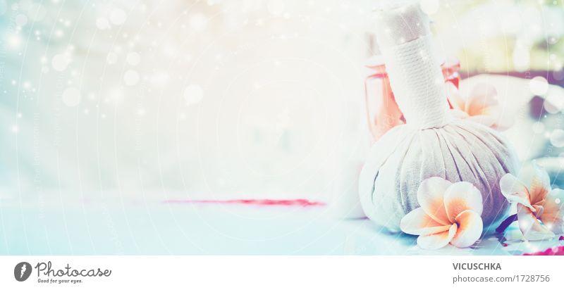 Spa Hintergrund mit Frangipani Blüten und Massage-Stempel Natur Sommer schön Blume Erholung Stil Gesundheit rosa Design Freizeit & Hobby Wellness Bad Fahne