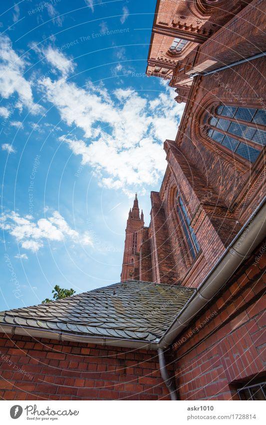 Marktkirche Wiesbaden Architektur Stadt Hauptstadt Stadtzentrum Altstadt Kirche Dom Marktplatz Bauwerk Gebäude Dach Dachrinne Sehenswürdigkeit Wahrzeichen