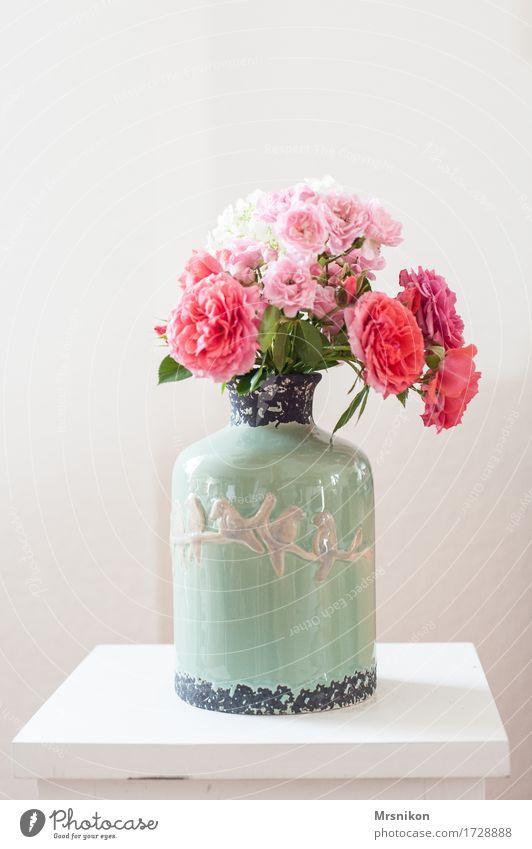 Rosenstrauß ästhetisch Vase Blumenstrauß Rosenblüte weiß rosa Muttertag Valentinstag Geburtstag Geschenk schön gepflückt Dekoration & Verzierung Design Tisch
