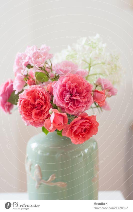 Rosenliebe ästhetisch Vase Blumenstrauß Rosenblüte Hortensienblüte Muttertag Valentinstag Liebe Geburtstag Keramik rosa einrichten Dekoration & Verzierung