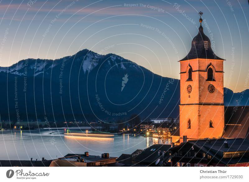 St. Wolfgang Himmel Natur Ferien & Urlaub & Reisen Wasser Erholung ruhig Haus Winter Berge u. Gebirge Schnee Freiheit See Stimmung Tourismus Zufriedenheit Ausflug