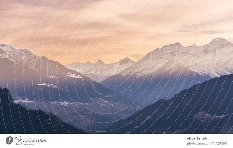 Alpen Ausflug Abenteuer Ferne Freiheit Winter Schnee Winterurlaub Berge u. Gebirge wandern Umwelt Natur Landschaft Himmel Horizont Sonnenaufgang Sonnenuntergang