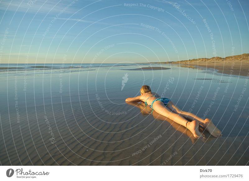 Relax! It's Denmark ... Freude Glück harmonisch Erholung Ferien & Urlaub & Reisen Sommer Sommerurlaub Sonne Sonnenbad Strand Mädchen 1 Mensch 8-13 Jahre Kind