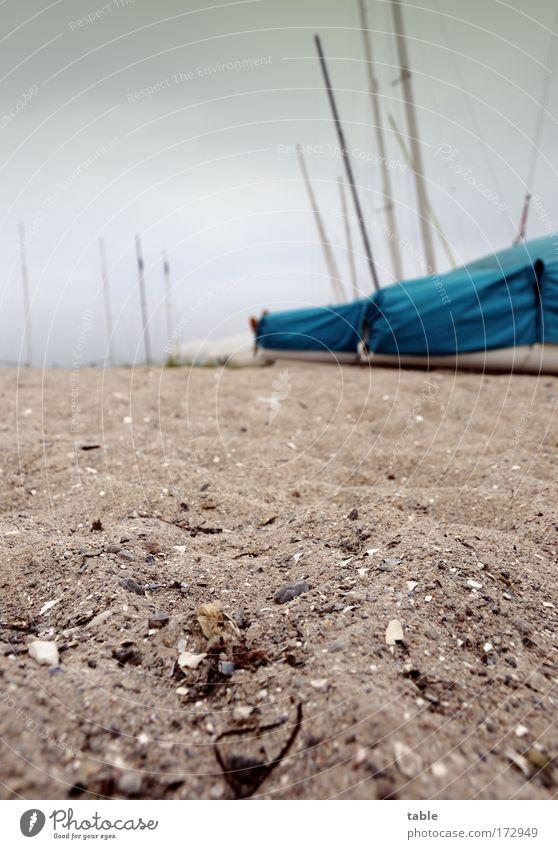 (KI09.01) Schietwedder Natur blau Ferien & Urlaub & Reisen Strand Freude Ferne Erholung Umwelt dunkel grau Sand braun Wetter Freizeit & Hobby warten Seil