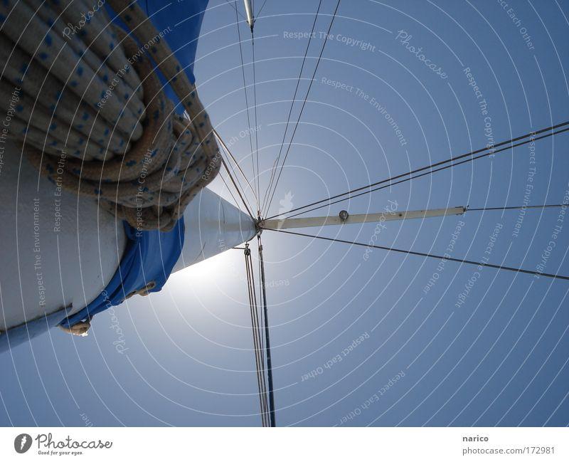segeln blau Sonne Ferien & Urlaub & Reisen Meer Sommer ruhig Ferne Erholung Freiheit Luft Zufriedenheit Wind Ausflug Abenteuer Seil Tourismus