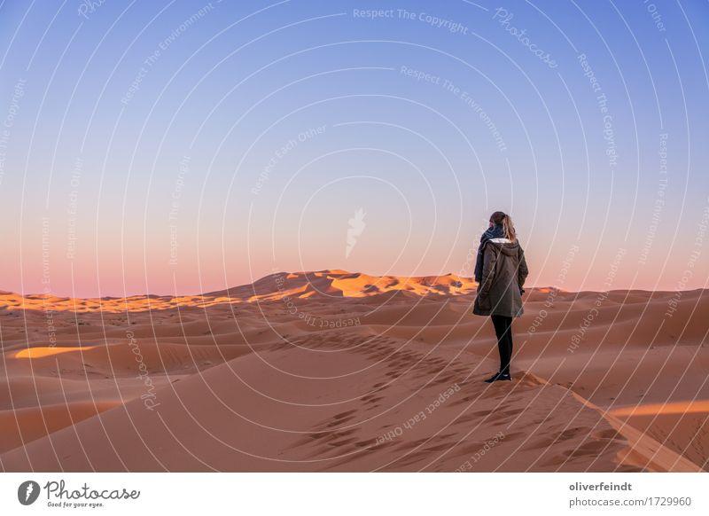 Marokko - Sonnenuntergang Ferien & Urlaub & Reisen Ausflug Abenteuer Ferne Freiheit Expedition feminin Junge Frau Jugendliche 1 Mensch 18-30 Jahre Erwachsene