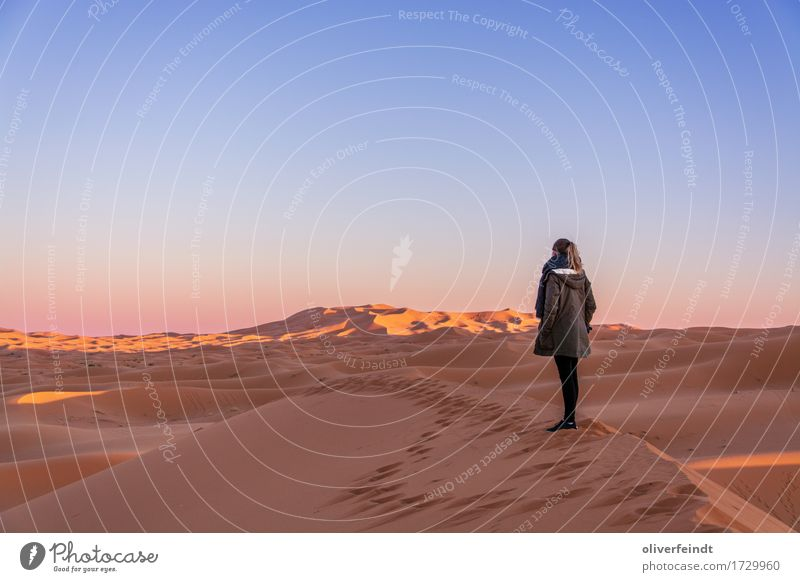 Marokko - Sonnenuntergang Mensch Himmel Natur Ferien & Urlaub & Reisen Jugendliche schön Junge Frau Landschaft ruhig Ferne 18-30 Jahre Erwachsene Umwelt feminin