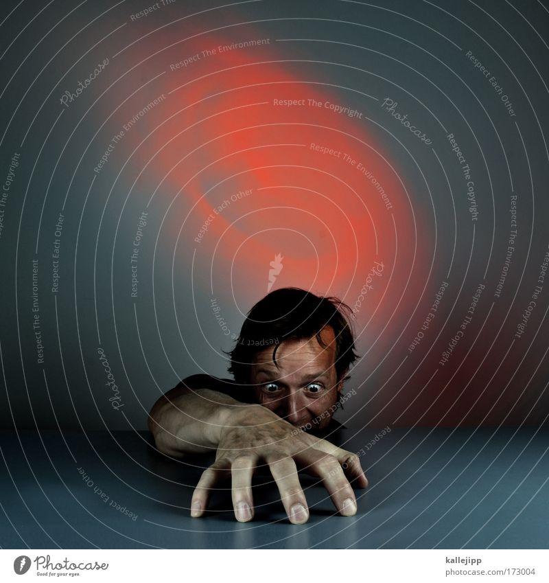 dangerous Mensch Mann Hand rot Erwachsene Einsamkeit Gesicht Auge dunkel Gefühle Kopf Haare & Frisuren Traurigkeit Angst Arme Finger