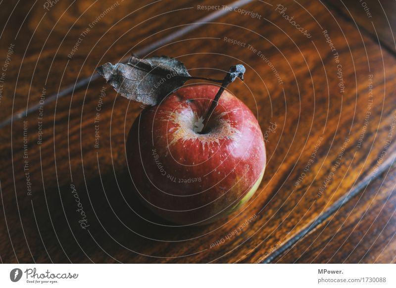 one apple a day... Lebensmittel Apfel Frucht Ernährung Bioprodukte Vegetarische Ernährung Diät Fasten gut Blatt Tisch lecker rot Holz vitaminreich Farbfoto