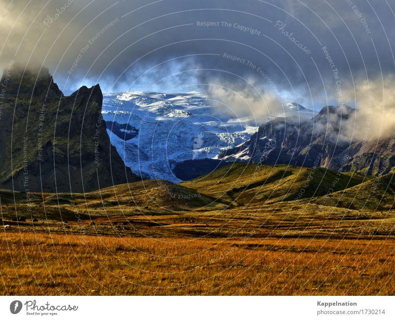 Gletscher auf Island Natur Sommer Wasser Landschaft Erholung Wolken ruhig Ferne Berge u. Gebirge Umwelt Bewegung wild Eis wandern Europa Abenteuer