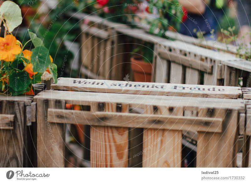 """WEINKISTE """"Wein schenkt Freude"""" Gefühle Holz Glück Garten Stimmung Tourismus Zufriedenheit Ausflug Schriftzeichen Schilder & Markierungen Fröhlichkeit Kultur"""
