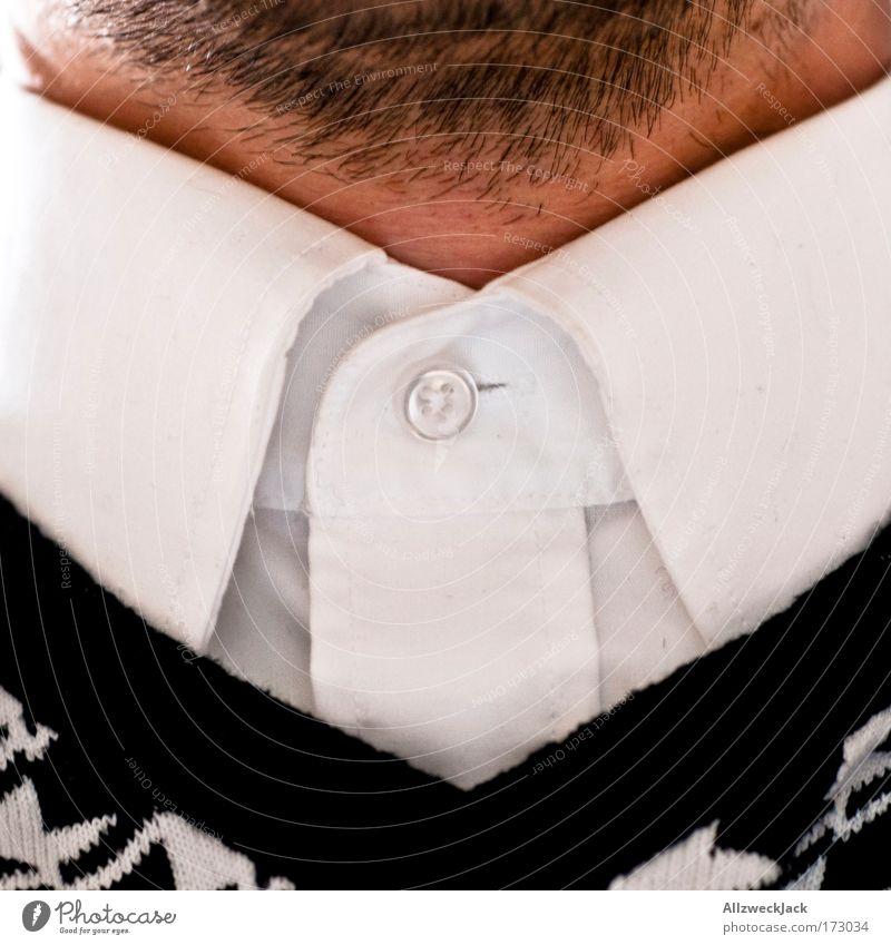 zugeknöpft Mensch weiß schwarz Erwachsene Haare & Frisuren Stil elegant geschlossen maskulin Bekleidung 18-30 Jahre Hemd Bart eng Pullover Hals