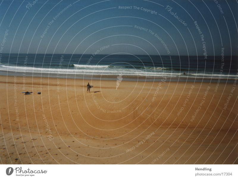 Lonely Surfer Vorfreude Hossegor Ferien & Urlaub & Reisen Europa schöne Wellen geiles Wetter Freude Sand Wasser