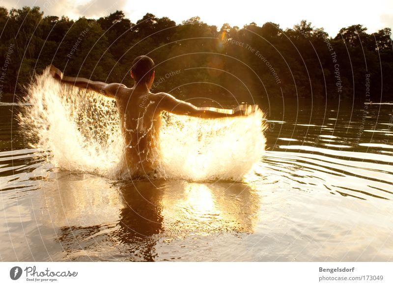 Wasserengel Mensch Natur Jugendliche Wasser Sonne Sommer Freude Ferien & Urlaub & Reisen Sport Freiheit See Körper Arme nass Wassertropfen Rücken