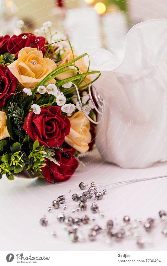 Brautstrauß Feste & Feiern Hochzeit Pflanze Blume Rose Blüte Stoff Accessoire Schmuck Tasche Sack ästhetisch gelb grün rot silber weiß Liebe Romantik elegant