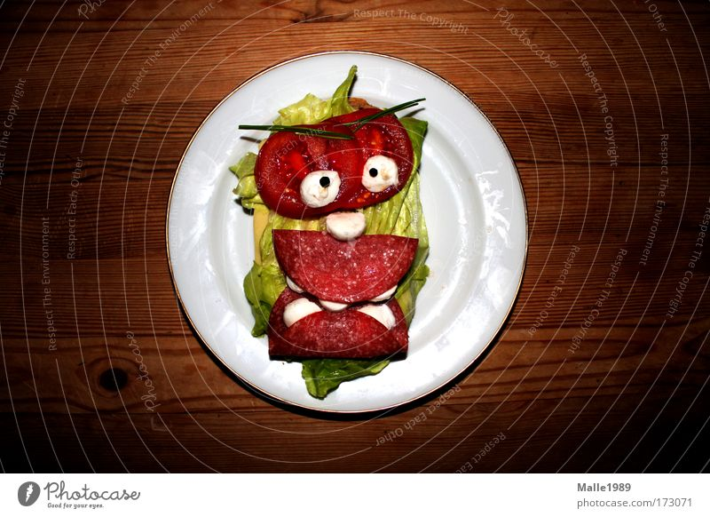 Tellermonster Farbfoto mehrfarbig Innenaufnahme Menschenleer Porträt Blick in die Kamera Lebensmittel Wurstwaren Käse Milcherzeugnisse Gemüse Getreide Brot