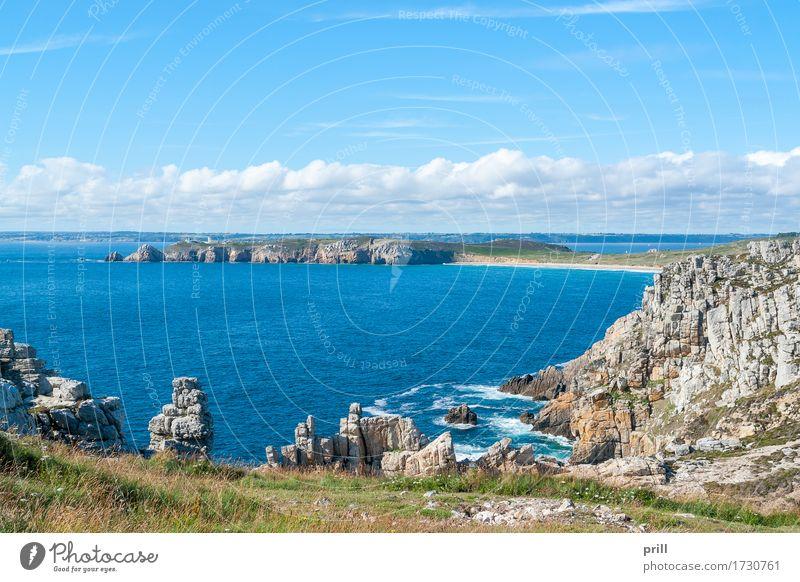 Pointe de Pen-Hir in Brittany Sommer Meer Landschaft Wasser Felsen Küste Stein authentisch pointe de penhir Bretagne Finistere Frankreich Gesteinsformationen