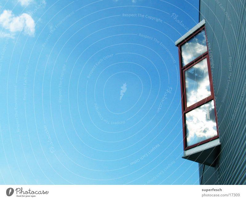 Glaserker Himmel blau Architektur glänzend Glas frei Blech Erker