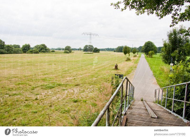 Muldewiesen Baum Ferne Wiese Gras Wege & Pfade Brücke Elektrizität Tourismus Kabel Bürgersteig Stahlkabel Weide Fußweg Geländer Strommast Allee