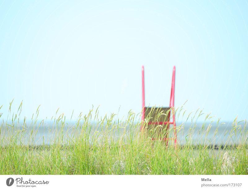 Kindersommertraum Meer grün blau Pflanze rot Sommer Freude Strand Ferien & Urlaub & Reisen Erholung Spielen Gras träumen Traurigkeit Küste Umwelt