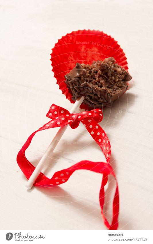 Cakepop Cakepops Pops Lollipop Kuchen Süßwaren rund rot Schleife Weihnachten & Advent Geschenkband Punkt gepunktet Schokolade Kuvertüre glasur Streusel Zucker