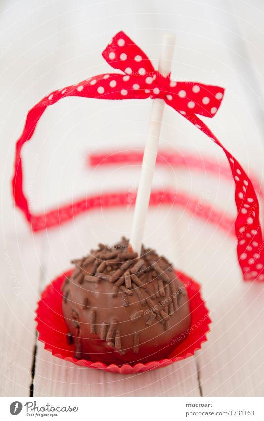 Cakepop Cakepops Pops Lollipop Kuchen Süßwaren rund rot Schleife Weihnachten & Advent Geschenkband Punkt gepunktet Schokolade Kuvertüre Schokoladenstreusel