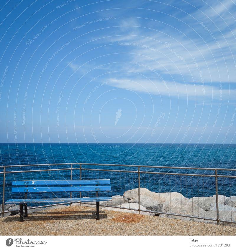 Rückenwind Ferien & Urlaub & Reisen Tourismus Ferne Sommer Sommerurlaub Sonne Meer Himmel Horizont Schönes Wetter Menschenleer Hafen Küstenstraße Bank Holzbank