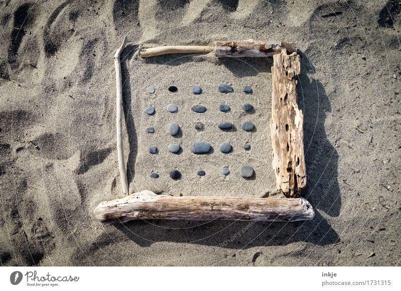 Schwemmholz, Steine, Sand, Sonne Ferien & Urlaub & Reisen Sommer Strand Holz Linie liegen Freizeit & Hobby Kreativität Schönes Wetter Sammlung Quadrat