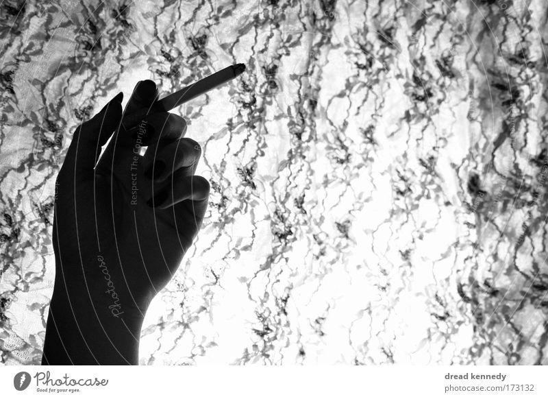 Black Flamingo Frau Hand ruhig Erwachsene Stil elegant Design Finger ästhetisch Stoff Rauchen Gelassenheit genießen atmen reich Identität