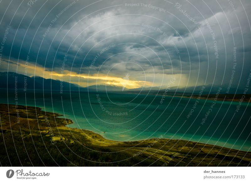 blub Natur Wasser Himmel Sonne grün blau Strand Wolken gelb Berge u. Gebirge See Landschaft Küste Wind Umwelt groß
