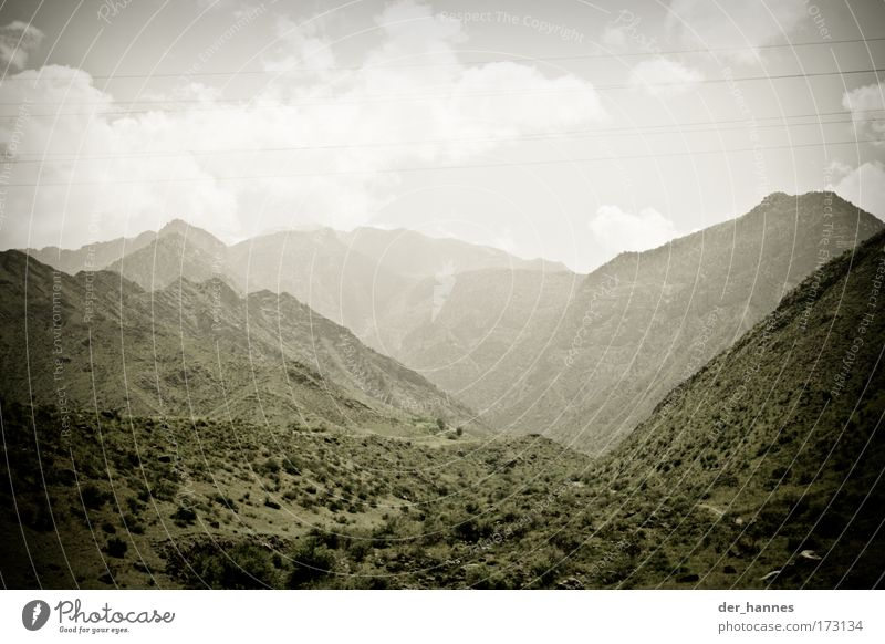 misty Farbfoto Gedeckte Farben Außenaufnahme Menschenleer Textfreiraum oben Tag Silhouette Zentralperspektive Weitwinkel Umwelt Natur Landschaft Erde Himmel