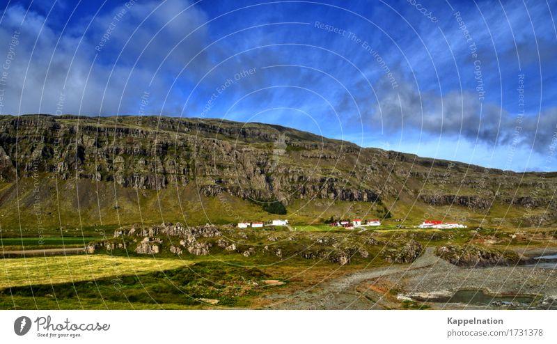 Dorf in Südisland Island Europa Bauernhof alt Häusliches Leben Unendlichkeit natürlich ruhig Einsamkeit Ferien & Urlaub & Reisen Freiheit Frieden Gelassenheit