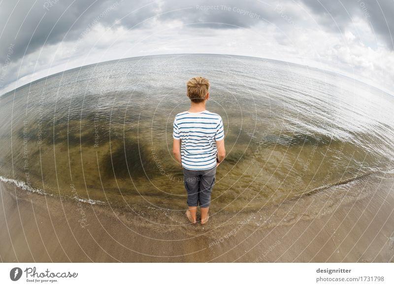 horizontal Mensch Kind Ferien & Urlaub & Reisen Jugendliche Sommer Meer Erholung Wolken ruhig Ferne Strand Küste Junge Freiheit Sand Horizont