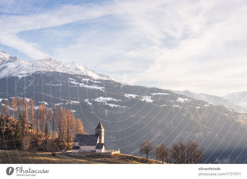 Schweiz - Falera II Ferien & Urlaub & Reisen Ausflug Ferne Freiheit Umwelt Natur Landschaft Himmel Horizont Winter Schönes Wetter Wald Hügel Felsen Alpen
