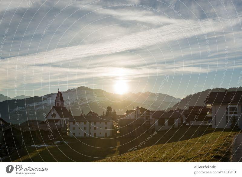 Schweiz - Falera Ferien & Urlaub & Reisen Ausflug Ferne Freiheit Winter Schnee Winterurlaub Umwelt Natur Landschaft Himmel Horizont Sonne Sonnenaufgang